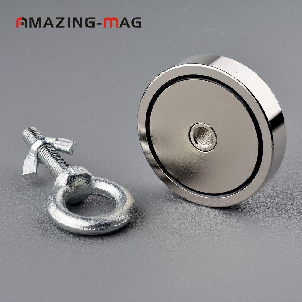 1 STÜCK 300 KG Vertikale Pull-kraft Neodym-magnet Angeln Salvage Recovery Abrufen Magnet D74 * 16mm Halten Leuchte Magnethalterung Basis