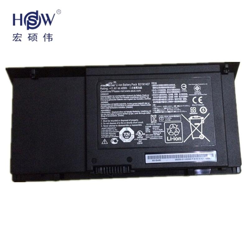 HSW New 11.4V 48Wh  B31N1407 Battery for ASUS B451 B451JA B451JA-1A Series Laptopbateria akku hsw brand new 96wh 11 4v c32n1415 li ion laptop battery for asus zenbook pro n501vw ux501jw ux501lw