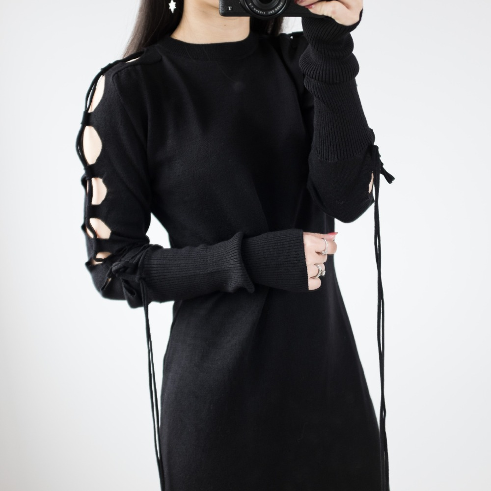 Riokeke New Hollow Out Sleeved O-Neck Knitted Women Dress String Slim Spring 2018 Summer Dress Party Club Elegant Black Dresses женское платье summer dress 2015cute o women dress