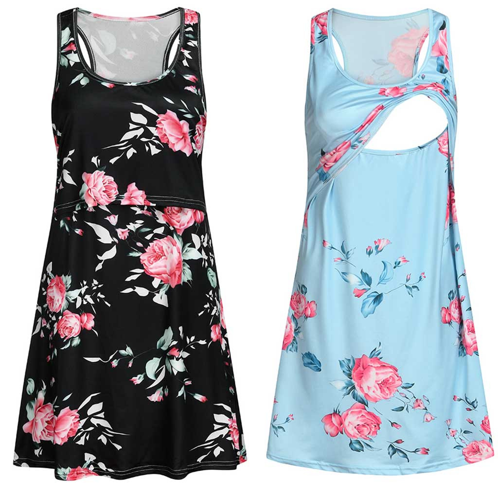 Pregnant Women Clothes Summer Sleeveless Flower Maternity Nursing Dresses Floral Print Pregnancy Breastfeeding Dress Polyester