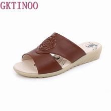 GKTINOO Summer Comfortable Cow Leather Slippers Platform Low Wedges Slides Beach Casual Women Shoes Large Size 35 42