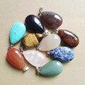 wholesale natural stone pendants big water drop pendant Charms rose quartz tiger eye for Necklaces jewelry making 8PCS