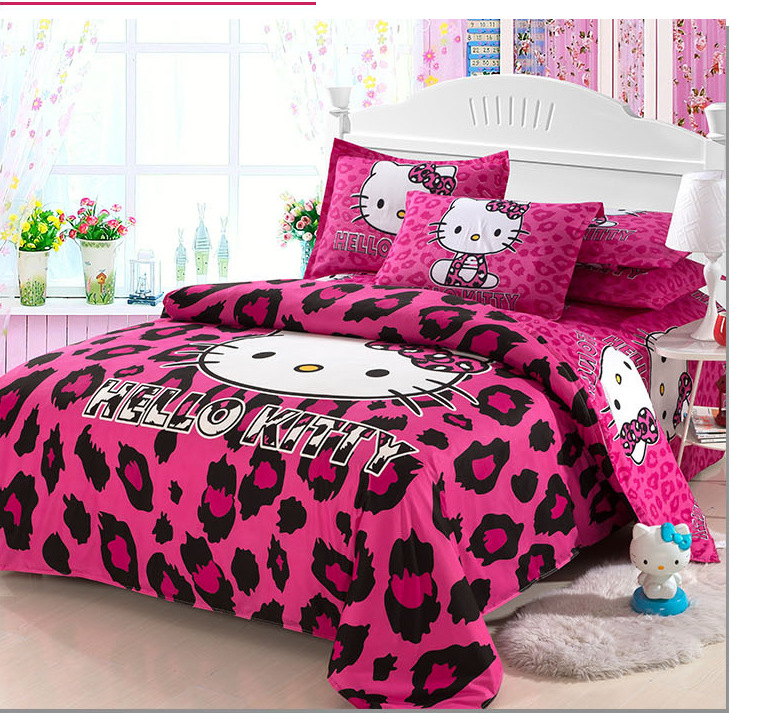 home textiles bedclothes child cartoon pattern pink hello kitty bedding set duvet cover bed sheet pillowcase girls 4pcs set in sets from
