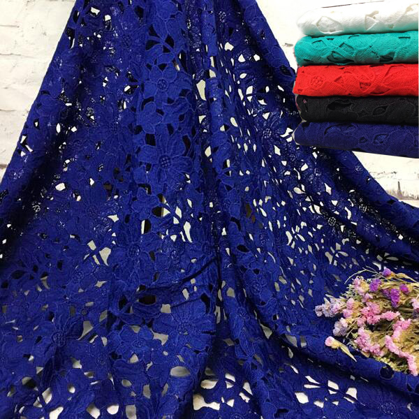 2Yards High Quality 5 Colors African Embroidery Water Soluble Milk Silk Lace Fabric/ Guipure Cord Nigerian Wedding Lace Fabric