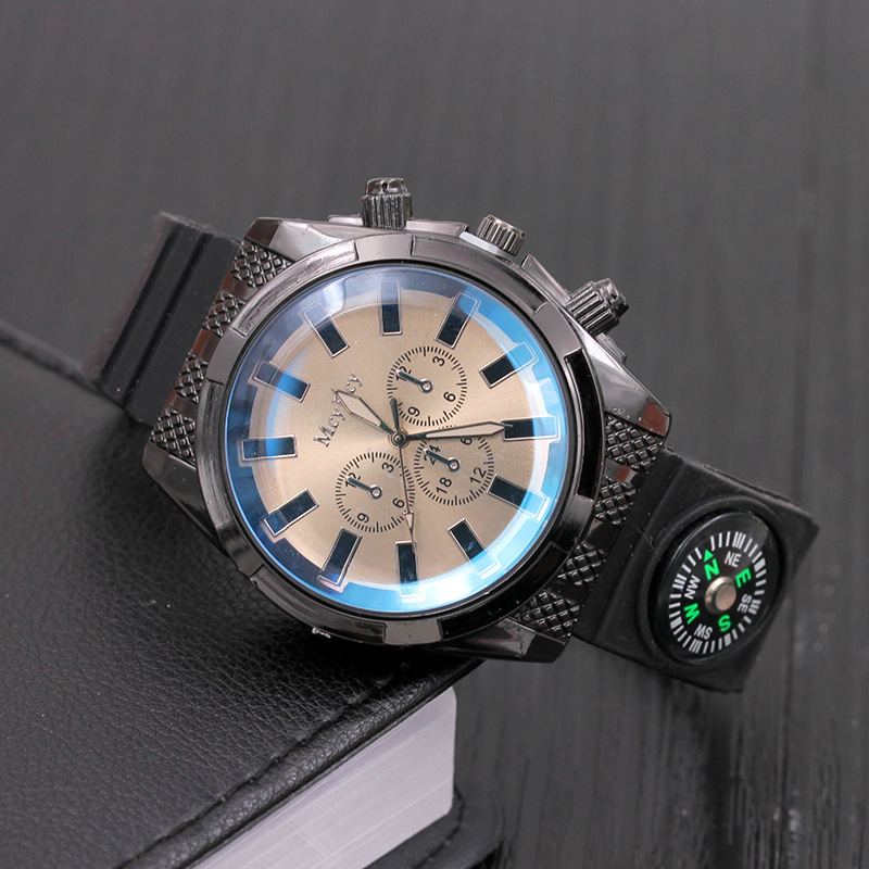 2017 mannen sport militaire rvs horloge grote wijzerplaat siliconen - Herenhorloges