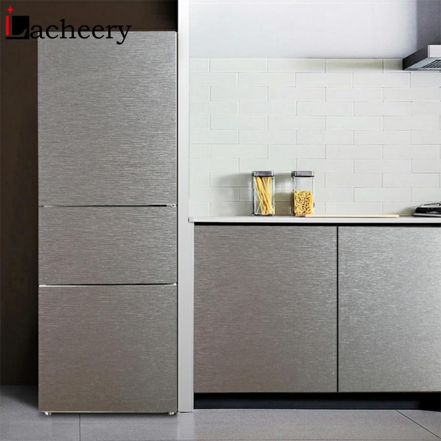 Modern Silver Brushed Metal Furniture Decor Vinyl Self Adhesive Wallpaper Rolls Kitchen Cabinet Fridge Door PVC Waterproof Film