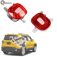Gtinthebox 3D Optic Red LED Rear Bumper Reflectors Rear Fog Tail Lamps with White Backup Lights Kit For Jeep Renegade 2015 2019