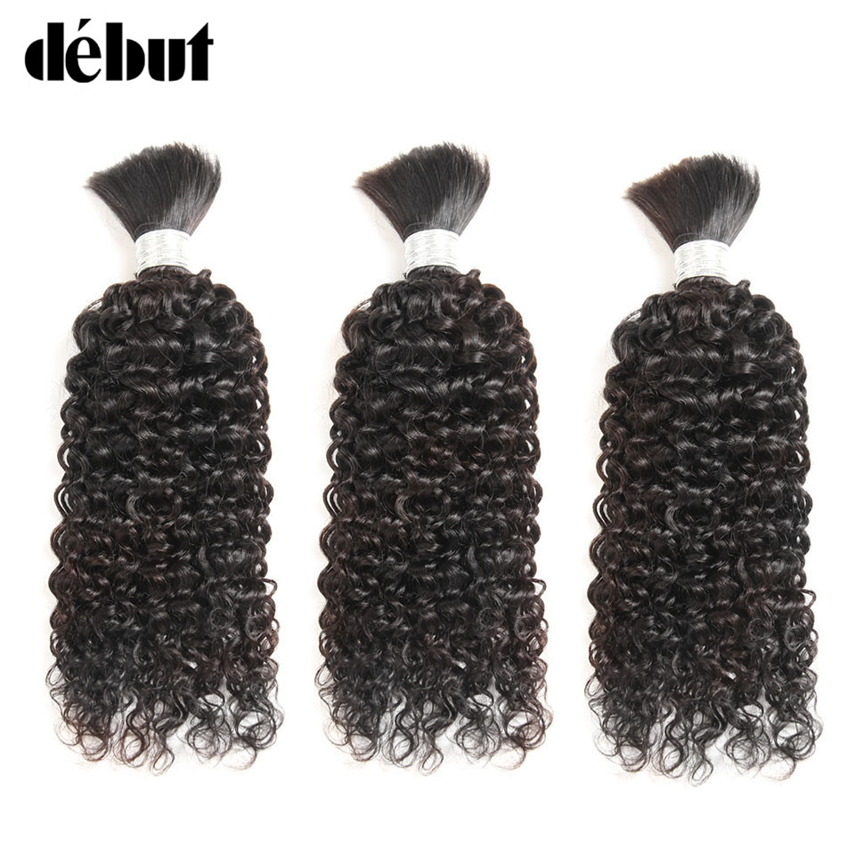 Remy Hair Brazilian Human Kinky Curly  No Weft Hair Bulk For Braiding 3/4 Bundles Deal Braiding Human Hair Bulk Natural Color(China)