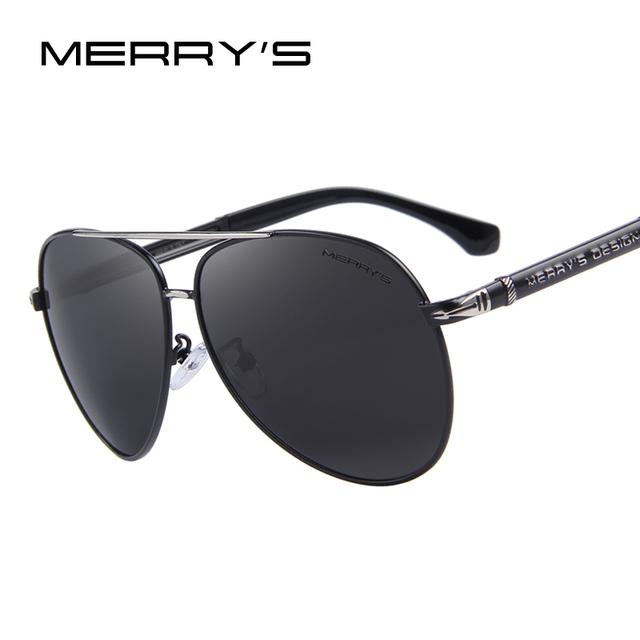 MERRY'S Hombres del Diseño Clásico de la Marca de gafas de Sol de HD Aluminio Polarizado gafas de Sol de Lujo Shades UV400 S'8728