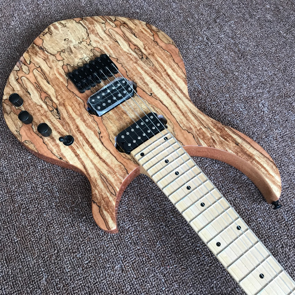 new arrival high quality Custom 7 strings Electric Guitar, Natural color, Spalted Maple Top,Real photo showing guitarra