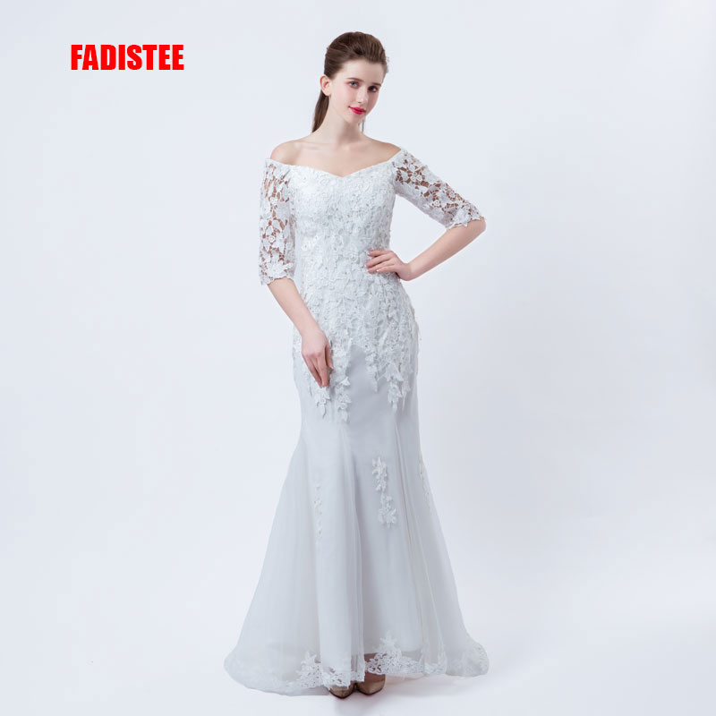 FADISTEE New arrival elegant wedding dress Vestido de Festa mermaid dresses lace crystal half sleeves applique