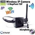 720 P H.264 Onvif mini cámara ip wifi HD Cámara IP Wifi cámara inalámbrica P2P Plug & Play Cámara 3.7mm lente para soporte de micrófono