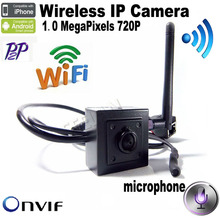 720 P H.264 Onvif mini IP Wifi cámara HD Wifi cámara IP Wireless P2P Plug and Play de la cámara 3.7 mm lente del agujero de alfiler para micrófono apoyo
