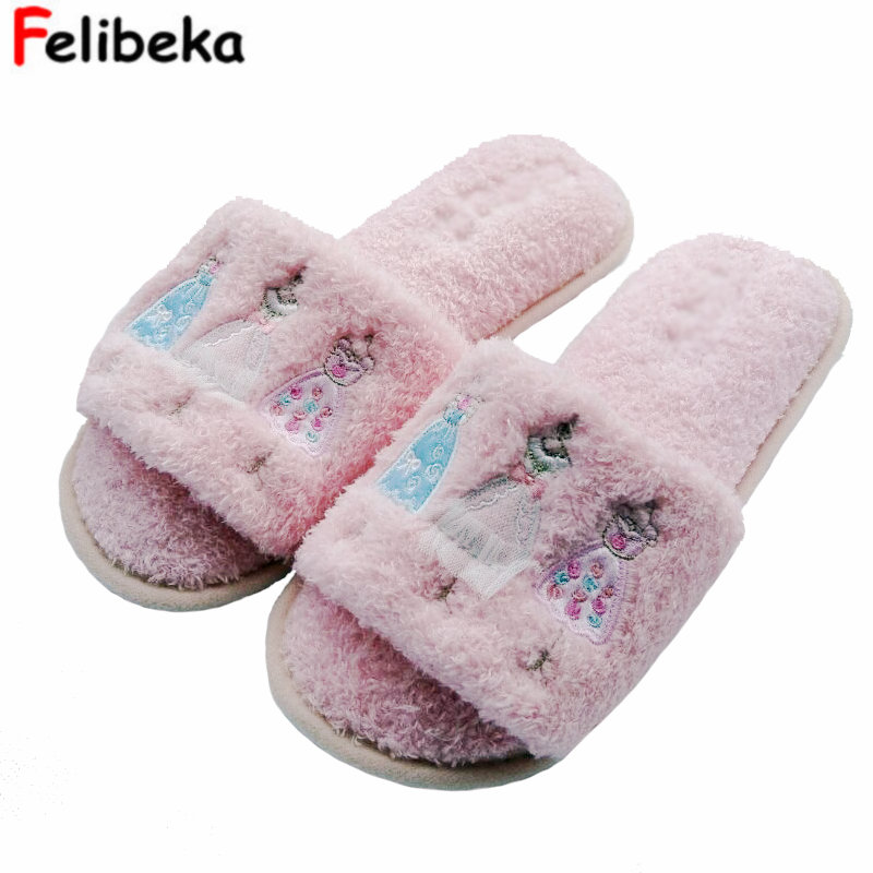 Winter Cartoon warm slippers plush flat Dress girl slippers for women Bedroom Indoor shoes for ladies coolsa women s spring furry slippers red cherry plush indoor flat slippers women s faux fur flat bling slippers women s slides