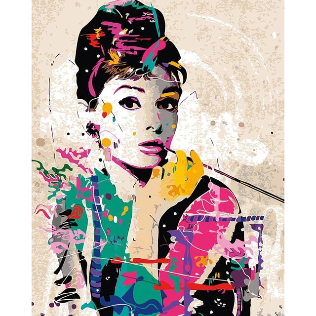 Bild Von Zahlen Diy Leinwand Malerei Bunte Audrey Hepburn Poster