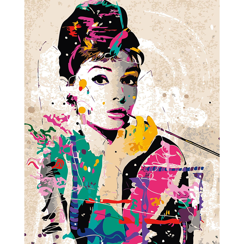 Picture by numbers, diy canvas painting, Colorful Audrey Hepburn ...