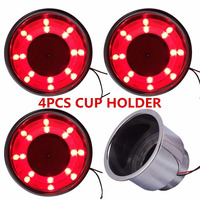 Mayitr 4pcs New Red 8 LED Recessed Stainless Steel Cup Drink Holder Cup Shape Bottle Holder for Car Truck Marine Boat RV