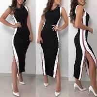 ba7927c40ba1f1 Dress Women S Fashion Sleeveless Casual Striped 2019 Women S Summer Fashion  Sexy Dress High Split