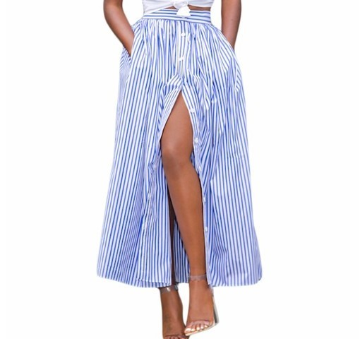 2017 Women Girl Summer Autumn Clothing Suit Sets Blue White Stripes Button Front Maxi Skirt LC65015 Vintage Skirts Faldas Saia
