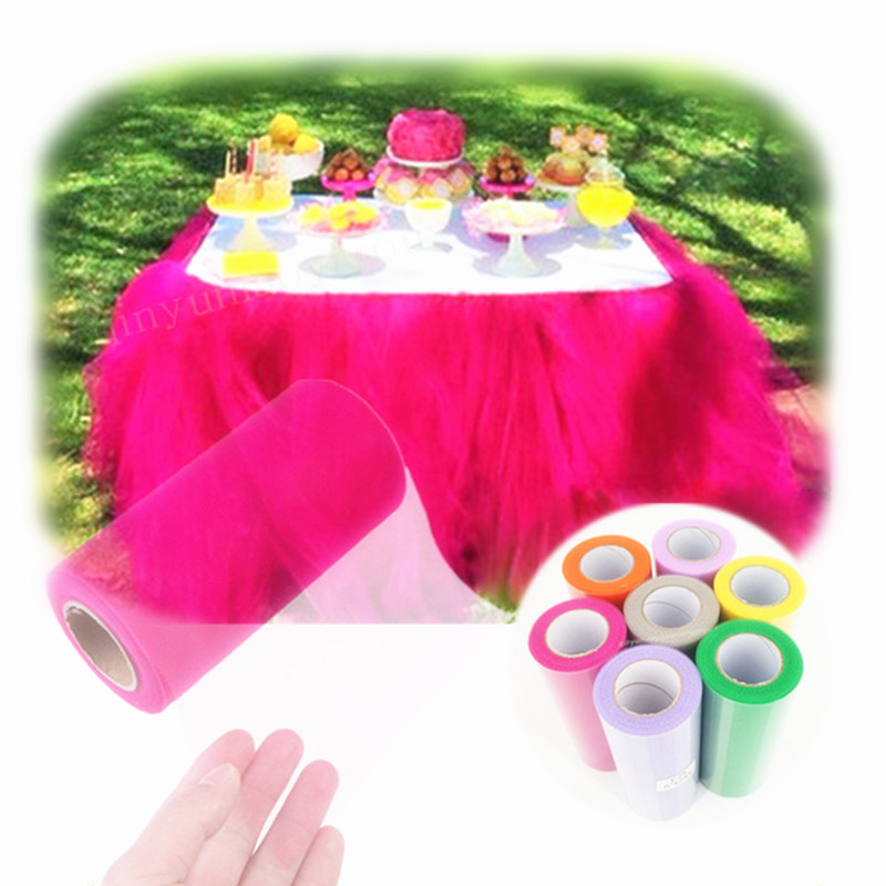 Image 3 - 15cm*22m Colorful Hard Tulle Craft Wedding Party Decoration Sheer Gauze Mesh Table Runner Wedding Car Decor 5Z SH759-in Artificial & Dried Flowers from Home & Garden