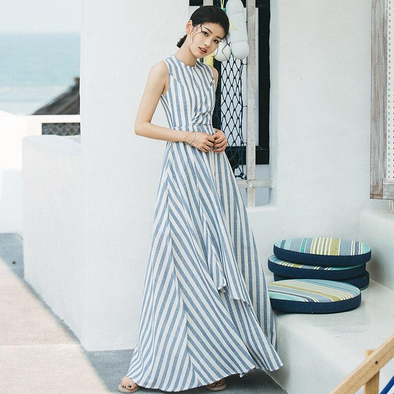 8dec1b400cb VERRAGEE long A line dress brand sleeveless Floor length dress women summer  2018 new striped elegant party maxi dress vestidos-in Dresses from Women s  ...