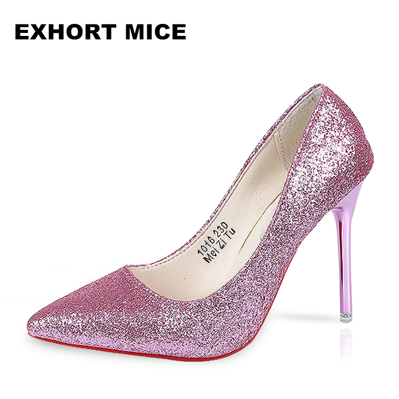 Hot 2018 Spring Autumn Women Pumps Sexy Gold Silver High Heels Shoes Fashion Pointed Toe Wedding Shoes Party Women Shoes 10CM 01 siketu free shipping spring and autumn high heels shoes career sex women shoes wedding shoes g012 nightclub pumps
