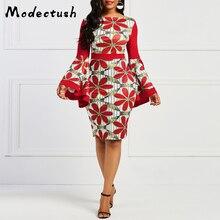 Modecrush Womens Slash Neck Flower Floral Print Midi Dress Vintage 2019 Ladies Clothing Multicolor Dresses Party Vestidos