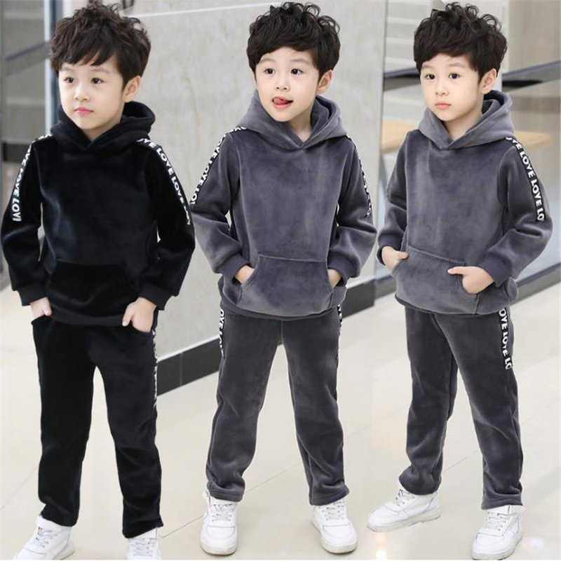 Kids Boys winter suit thick 2017 new children's gold velvet sweater Korean autumn and winter two sets of tide clothing цены онлайн