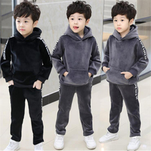 Kids Boys winter suit thick 2017 new children's gold velvet sweater Korean autumn and winter two sets of tide clothing
