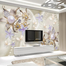 Custom wallpaper 3d mural pearl diamond flower butterfly romantic background wall papers home decor papel de parede