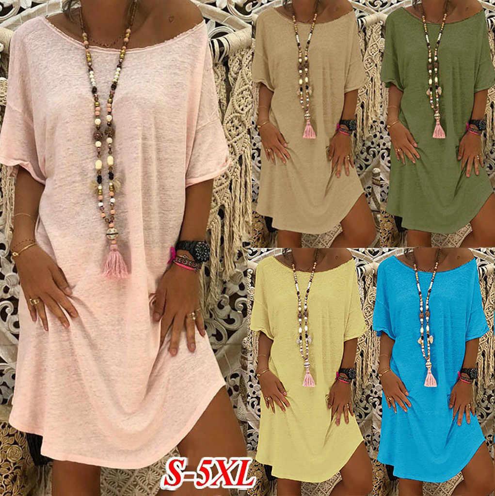 Feitong quatre couleurs!! S-4XL nouveauté femmes O cou décontracté solide au-dessus du genou robe manches lâche fête Mini robe Vestido @ 17