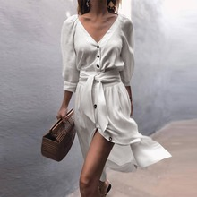 Straight Simple Casual Dress Girl Autumn 2018 Pleated Button Belt Solid V Neck High Street Fashion Slim Sexy Split White Dresses