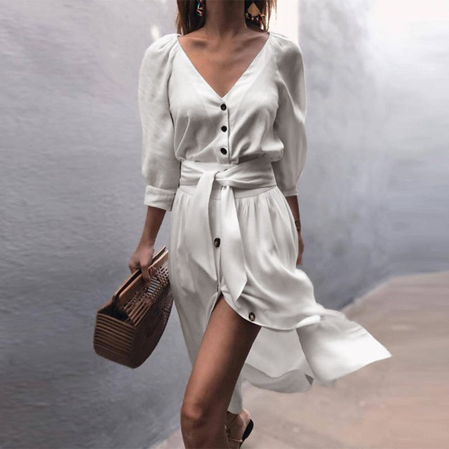 389e4e32d22 Straight Simple Casual Dress Girl Autumn 2018 Pleated Button Belt Solid V  Neck High Street Fashion