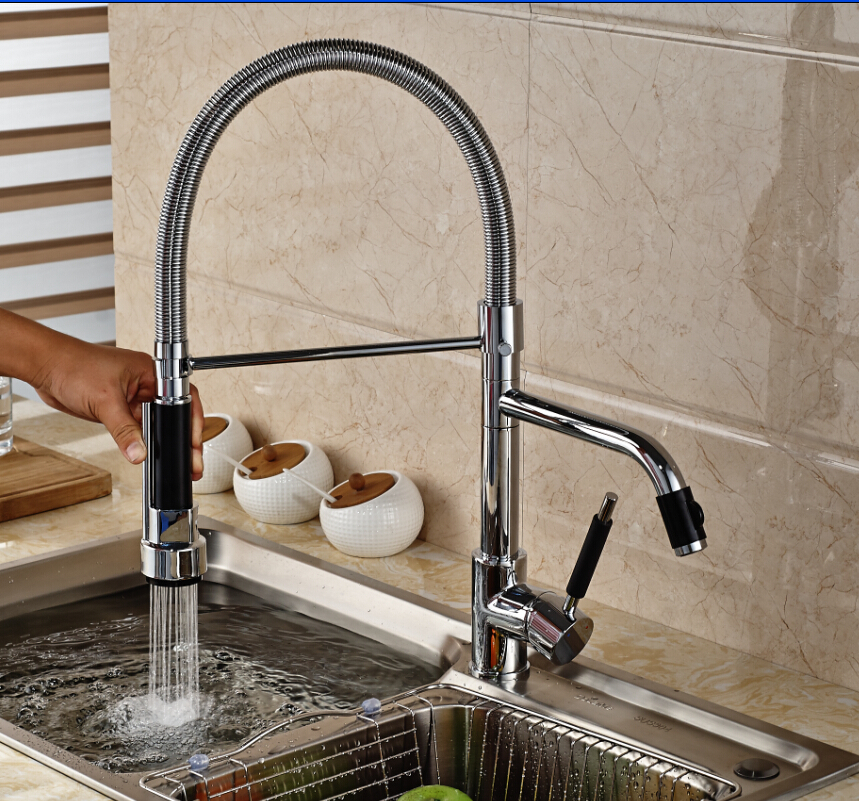 Modern Luxury Chrome Brass Kitchen Faucet Dual Sprayer Vanity Sink Mixer Tap Deck Mounted Single Hole swanstone dual mount composite 33x22x10 1 hole single bowl kitchen sink in tahiti ivory tahiti ivory