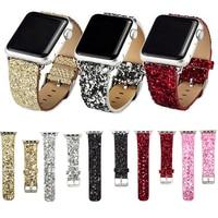 Кожаный ремешок для Apple Watch 38/42 мм серии 1/2/3 блеск Косметическая пудра блестящие Рождество Bling браслет ремешок Белый Розовый Зеленый i26.