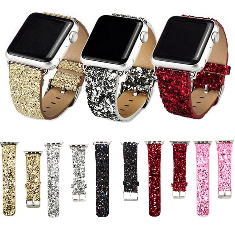 Leather Band for Apple Watch 38/42mm Series 1/2/3 Glitter Powder Shinny Christmas Bling Bracelet Strap White Pink Green I26. аксессуар набор петелек bling my thing allure loops apple watch 38 42mm pink aw loop pk cry