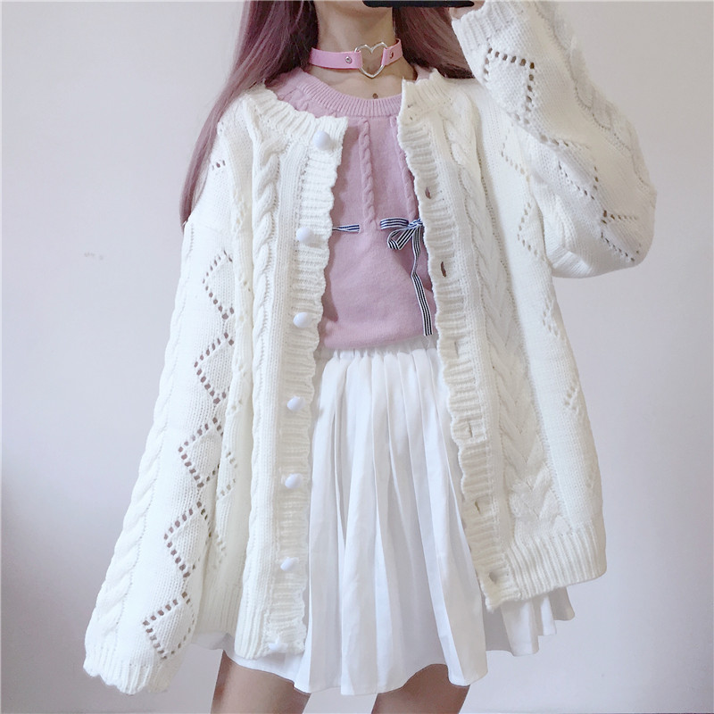 Autumn And Winter Japanese Soft Sister All-Match Solid Color Sweater Women Knit Sweater Loose Lace Single Breasted Cardigan Coat