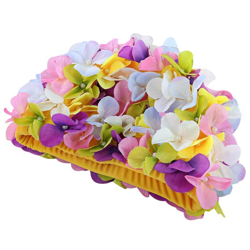 Женская цветная шапка для плавания с цветами, популярная весенняя шапка, красивая спортивная шапка для бассейна, женская шапка свободного р...