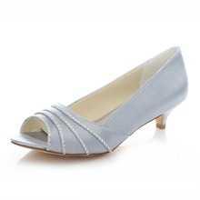 women s peep toe party banquet pleated satin crystal bridal shoes 4 0CM med heels rhinestone