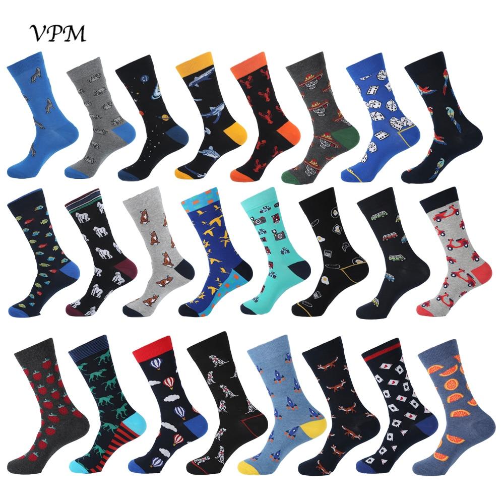 VPM 2019 Big Size Cotton Men's   Socks   Hiphop Harajuku Happy Funny Fox Compression Dress   Socks   for Male Wedding Christmas Gift