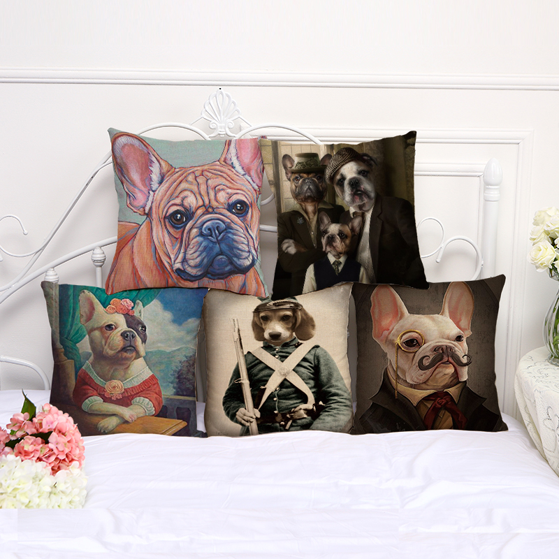 new pet dog style pattern cushion cover cotton linen