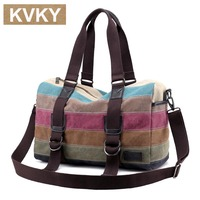 KVKY Women Patchwork Handbags New Fashion Canvas Bag Brand Casual Female Shoulder Bags Messenger Bag Summer