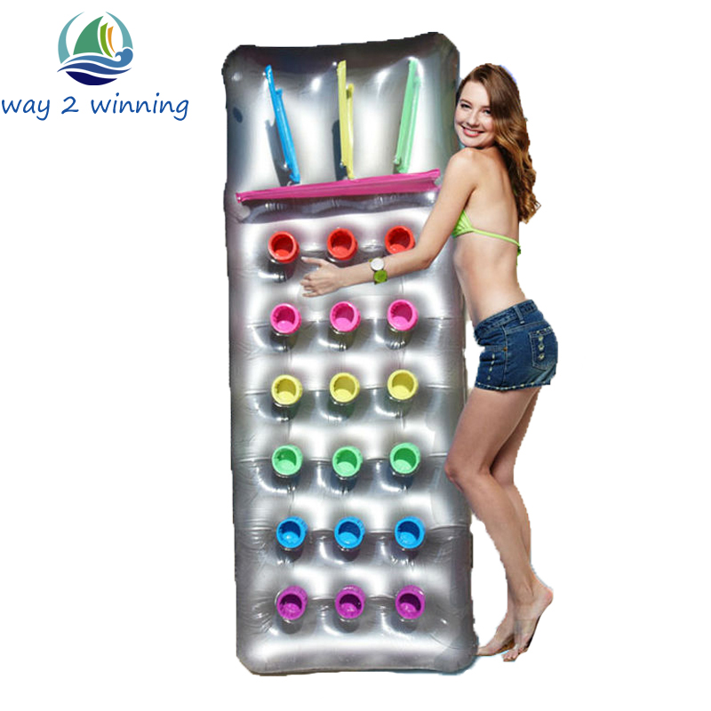 Hot Inflatable Pool Floats 18 Holes With Pillow Lounge Swim Board Beach Water Floating Island Raft Air Mattress Planche Natation