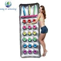 Oferta Flotadores inflables calientes de la piscina 18 agujeros con el Salón de la almohada tabla de nado playa agua flotante isla balsa colchón de aire Planche Natation