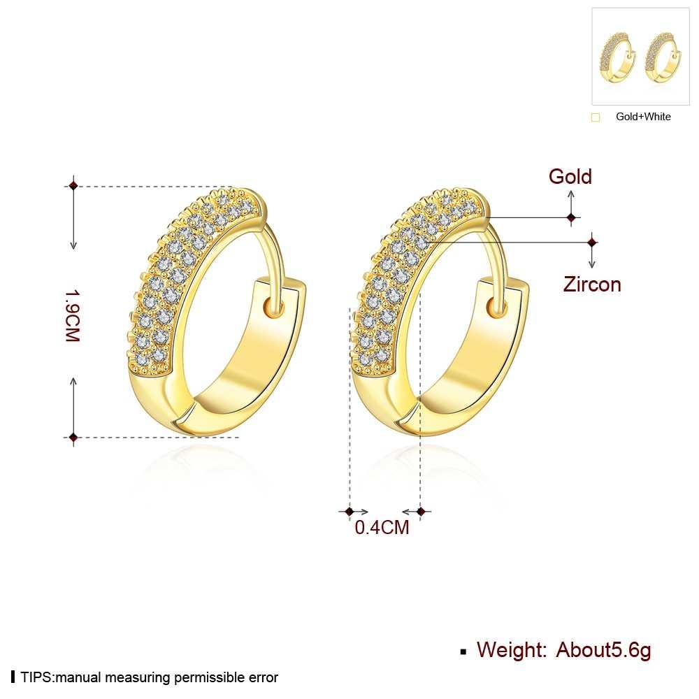 ผู้หญิงเครื่องประดับอุปกรณ์เสริมทองต่างหูแฟชั่นผู้หญิง Pendientes cz คอลเลกชัน 19 มิลลิเมตรรอบวงกลมต่างหู