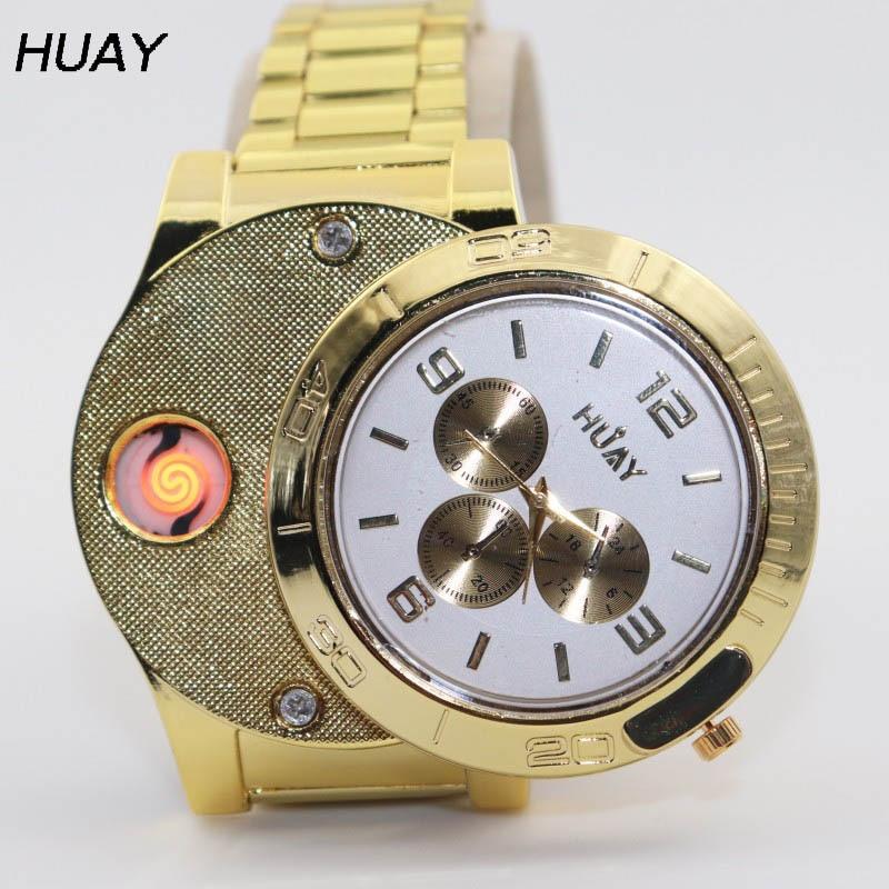 1PCS 2018 new HOT Lighter Watches Men casual Quartz Watch USB charging luxury Gold stainless steel strap Cigarette Lighter F781 недорго, оригинальная цена