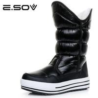 Esov Women Boots 2017 Russia Waterproof Platform Knee High Boots Fur Female Warm Snow Boots Woman
