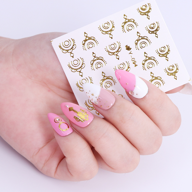 Full Beauty 30pcs Gold Silver Nail Water Sticker Feather Flower Spider Design Decal For Nails Decoration Nail Art Manicure CHY