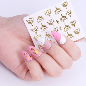 Image 5 - Full Beauty Gold Silver Nail Water Sticker Feather Flower Spider Design Decal For Nails Decoration Nail Art Manicure Slider CHY