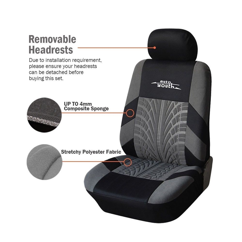 Image 2 - AUTOYOUTH 3 Colour Track Detail Style Car Seat Covers Set Polyester Fabric Universal Fits Most Cars Covers Car Seat Protector-in Automobiles Seat Covers from Automobiles & Motorcycles